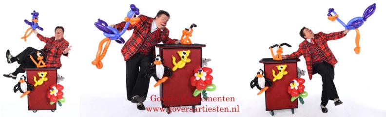 Ballonnenclown, clown, kindervoorstelling, straattheater, artiesten boeken, artiestenbureau, clowns, ballonnen vouwen, ballonnen vouwer, ballon, kindertheater, Govers Evenementen