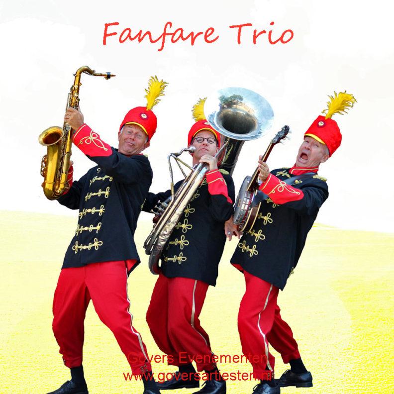 Fanfare, trio muziek, muzikanten, looporkest, straatmuziek, themafeest, looporkesten, van de Fanfare, vrolijke muziek, trompet, Govers Evenementen,