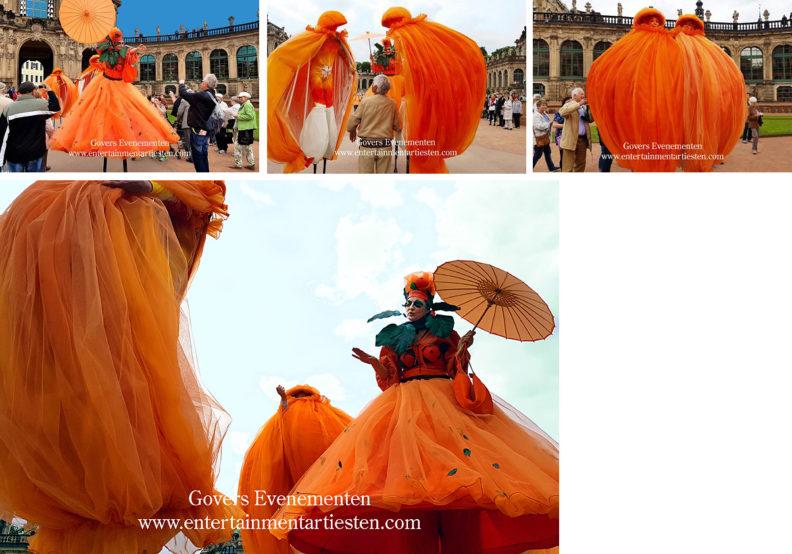 Orange-de-Luxe, oranje entertainment, appel van oranje, Holland entertainment, Koningsdag, steltenact, steltenacts, steltentheater, Orange, vrijmarkt, koninginnedag, oranje artiest, artiesten, straatartiesten, feestdag, www.goversartiesten.nl
