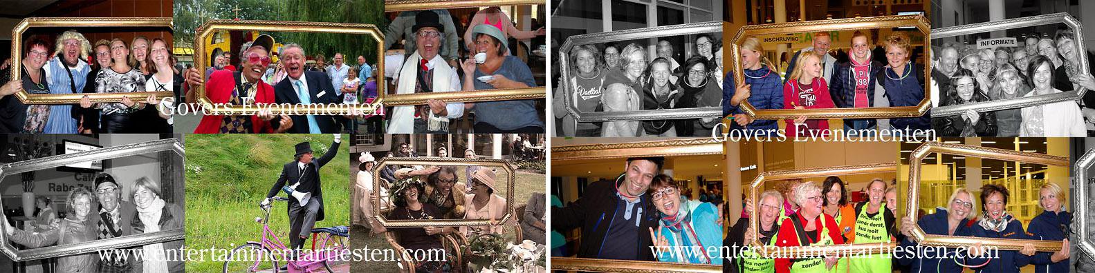 Freek Flits is een erg druk baasje. Hij heeft zich als professioneel fotograaf toegelegd op portretfotografie. Om de kosten te drukken brengt hij zijn eigen schilderijlijst mee. humor, theater, huwelijksfeest, opening, straattheater, Govers Evenementen, www.goversartiesten.nl