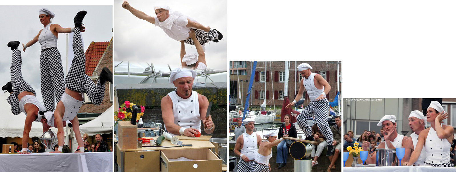jongleur acrobatiek, Culinaire acrobatiek om een feestavond of een culinair evenement op te vrolijken Straattheater : De acrobaten koks maken komische capriolen en straatvoorstellingen voor festival en evenement, Govers Evenementen, www.goversartiesten.nl