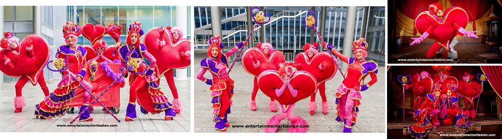 Alles is Liefde, typische Valentijndag - Moederdag parade, entertainment om uw gasten te verwennen !!, openingsact, straattheater, themafeest, www.goversartiesten.nl