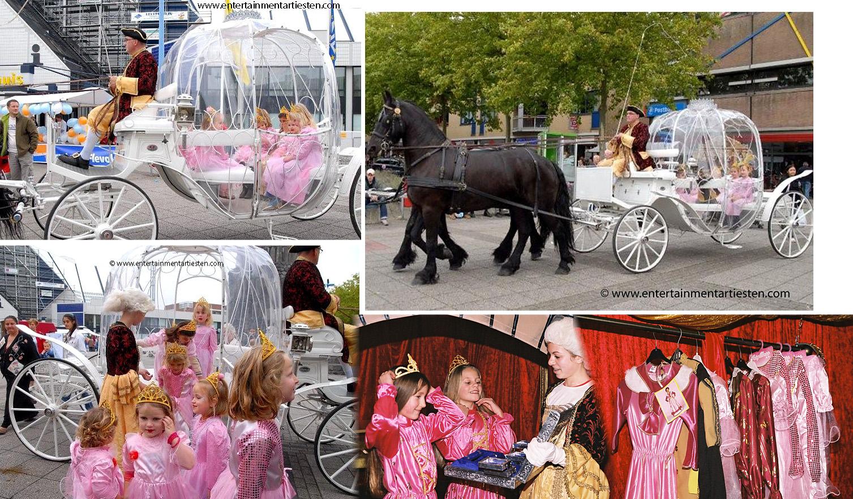 Prinsen en Princessendag met sprookjeskoets is een doorlopend kinderprogramma - jeugd entertainment, kinderfeest, kinderfeestje, verjaardag vieren, artiesten boeken, straattheater voor kinderen, www.goversartiesten.nl