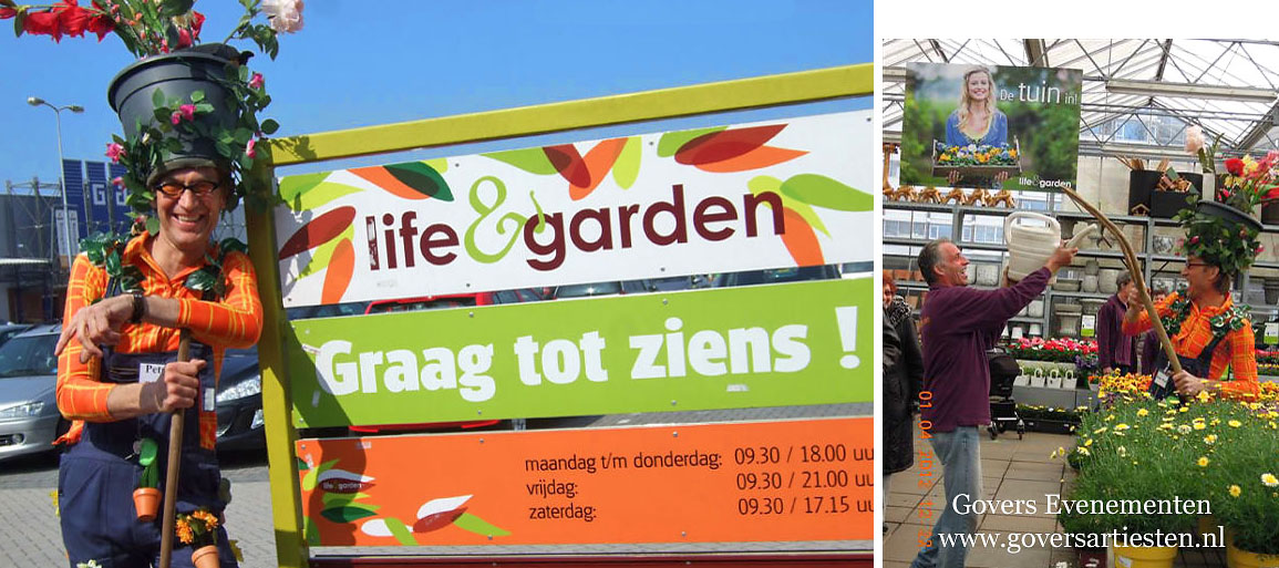 Groen en duurzaam, theateract, moederdag act, artiesten boeken, acteur boeken, bloemen en planten, acts voor pasen, Govers Evenementen, www.goversartiesten.nl
