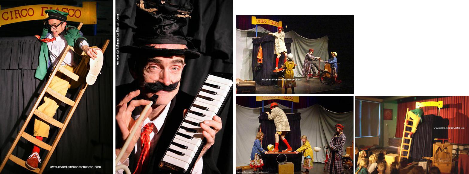 Kinderprogramma met een levendig clownspektakel met komisch illusionisme, hilarische evenwichtstoeren, straattheater, artiesten boeken, kindertheater, Govers Evenementen, www.goversartiesten.nl