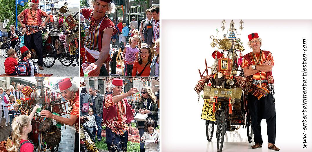 Straattheater : Naast de zang, theaterspel en limonade schenkt deze straatartiest alom verwondering. theater voor kinderen, Govers Evenementen, kindertheater, www.goversartiesten.nl