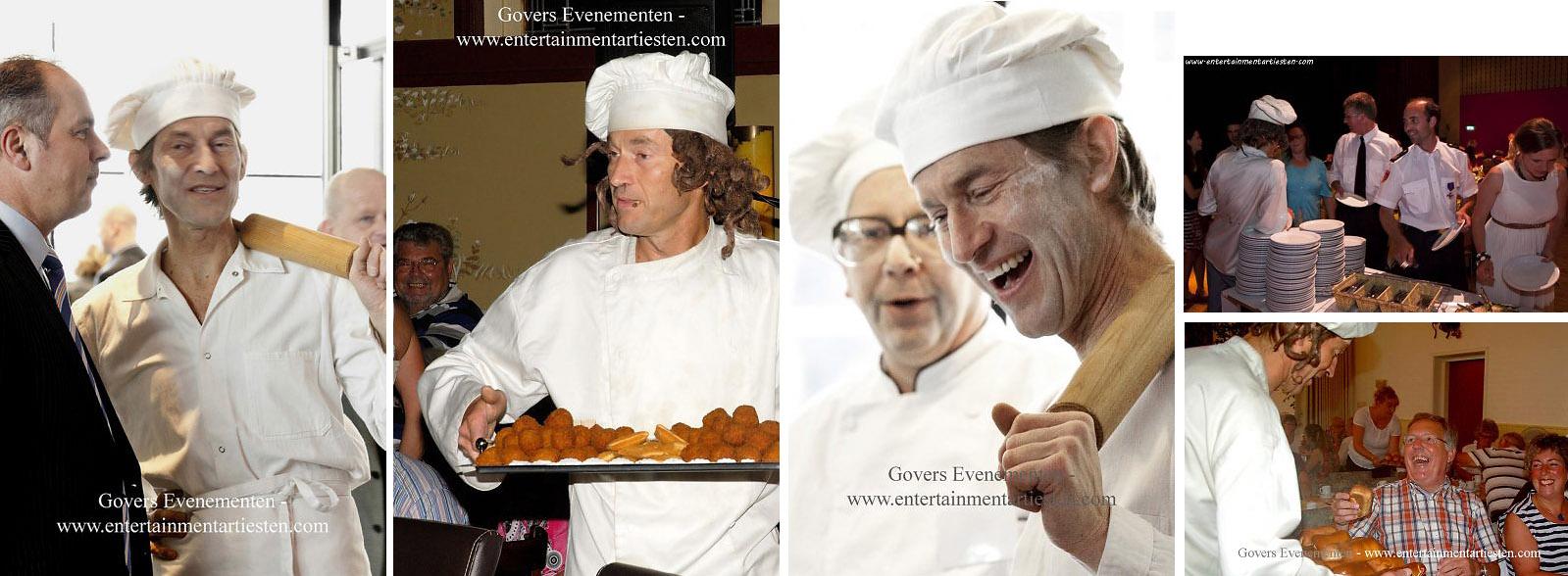 De Smoezelige kok, amusant Culinair Entertainment tijdens feestelijke bijeenkomst als Cateringact, acteur inhuren, Govers Evenementen, www.goversartiesten.nl