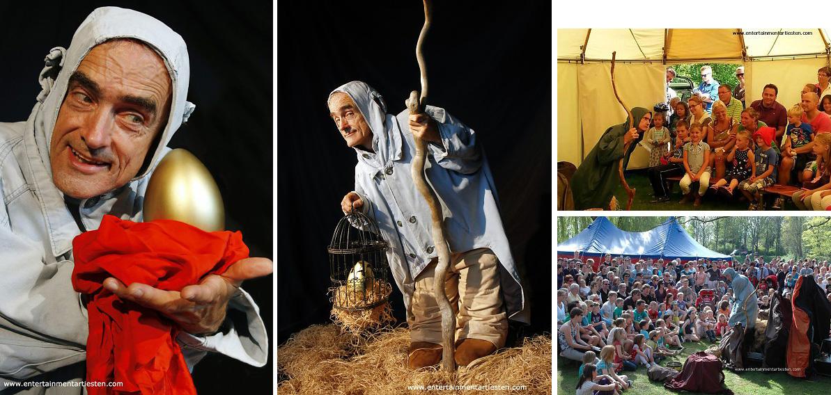 Komische en ontroerende Dwerg verzorgd een verrassend kinderprogramma met een gouden ei, straattheater, kindertheater, artiesten boeken, straat theater festival, Govers Evenementen, www.goversartiesten.nl