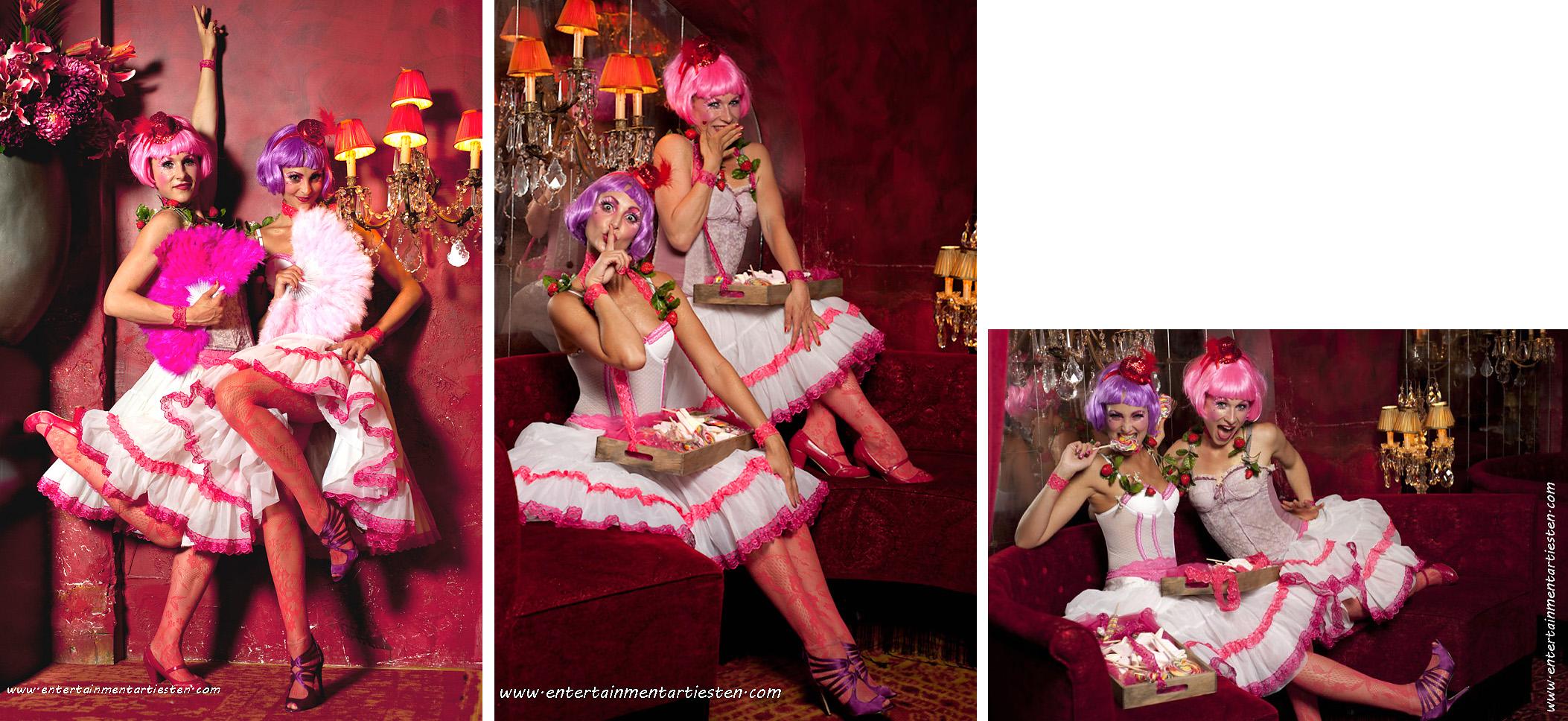 De charmante dames -actrices, verwelkomen u genodigden bij een receptie of feestavond, artiesten inhuren, cateringact, culinair entertainment, artiestenbureau, Govers Evenementen, www.goversartiesten.nl