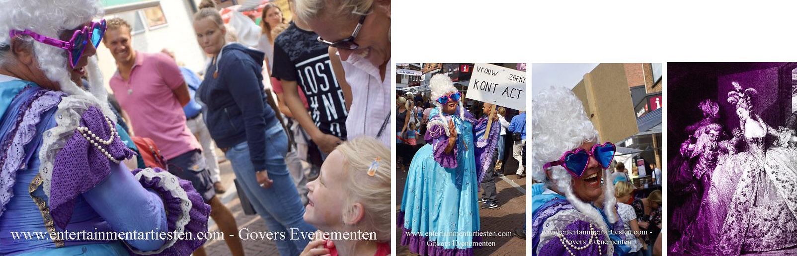 Rococo Marie Antoinette met haar kont act, artiest, humor en theater, Govers Evenementen, straattheater, themafeest, winkelcentrum act, acteur, artiesten boeken, www.govesartiesten.nl