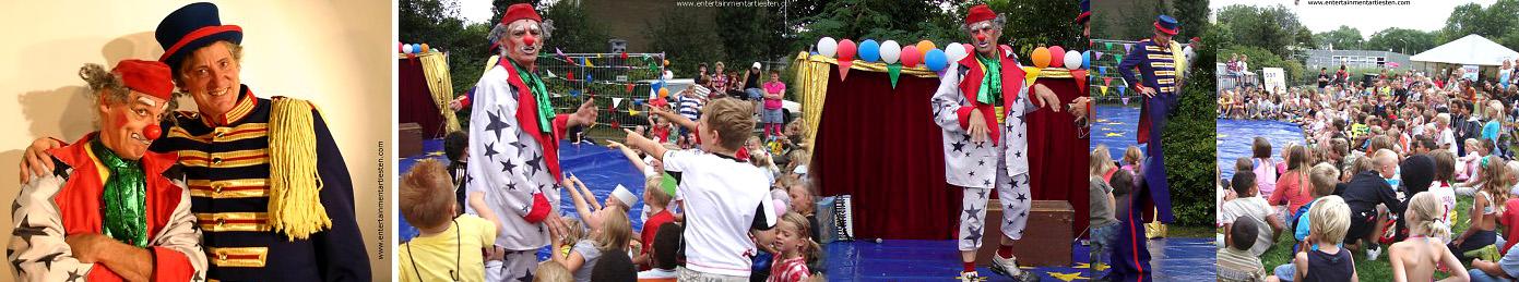 In het Kinderprogramma Floepie en Flapteur, nemen een clown en een circusdirecteur de kinderen mee in de wonderbaarlijke wereld van hun circus, straattheater voor kinderen, kinderfeestje, Govers Evenementen, www.goversartiesten.nl