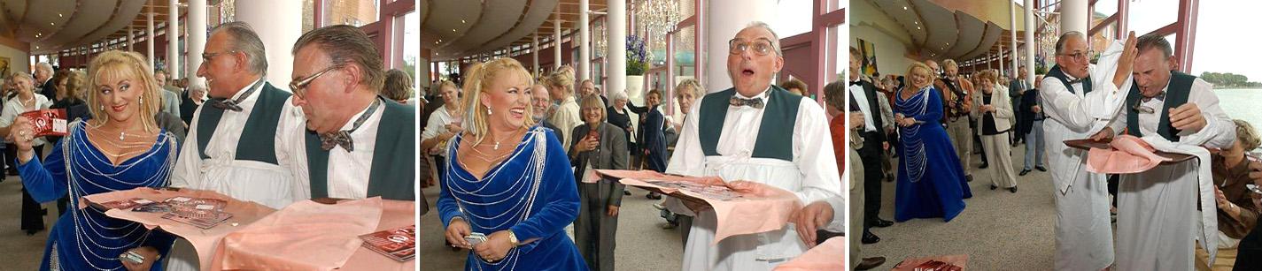 Huwelijksfeest Entertainment, Komische mime- hork obers die tijdens een receptie , bruiloft of huwelijksfeest voor grote hilariteit zorgen, acteurs boeken, Govers Evenementen, www.goversartiesten.nl