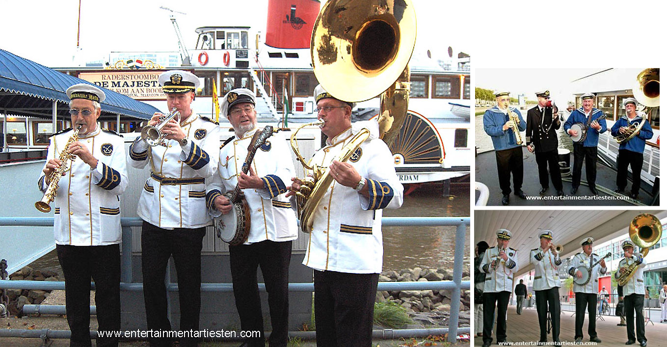 Typisch Nautisch- & Maritiem muzikaal Entertainment: 't Admiraals looporkest, looporkest, muziek, muzikanten, Govers Evenementen, www.goversartiesten.nl