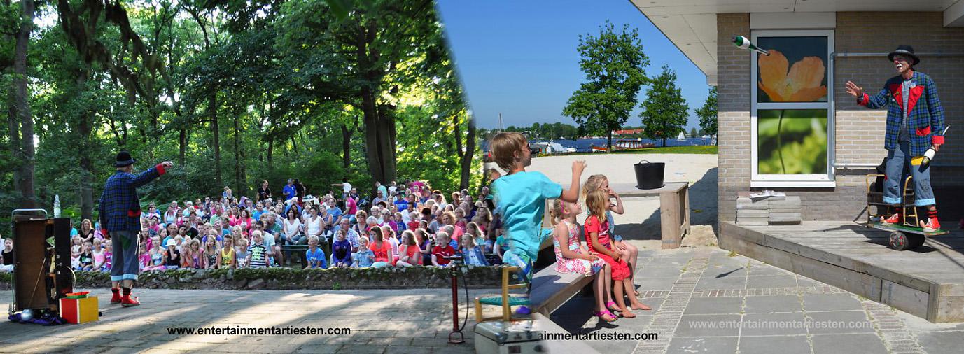 Een magische en spectaculaire sfeer van het traditionele circus. Hij wordt geholpen door het niet vermoedende kinderpubliek om een wereld van illusie, kleur, betovering en chaos te produceren, straattheater, kindertheater, clown, kinderfeestje organiseren, Govers Evenementen, www.goversartiesten.nl