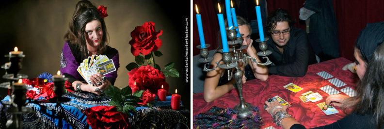 De valentijndag waarzegster is bijzonder entertainment om een feestavond of winkelcentrum te promoten Valentijnsdag, handlezen, kaartleggen, www.goversartiesten.nl