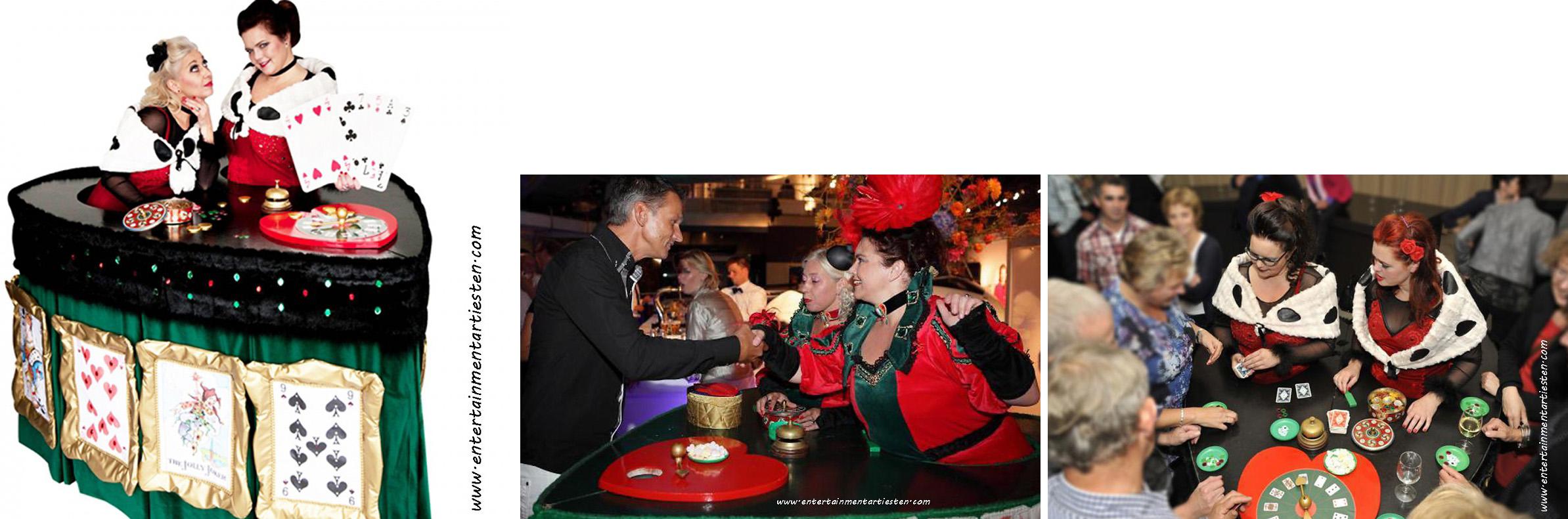 spannend spel aan Mobiele Casinotafel - Hartentafel entertainment voor feesten, themafeest, kaartspel, gokken, acteurs inhuren, artiesten boeken, feestavond, www.goversartiesten.nl