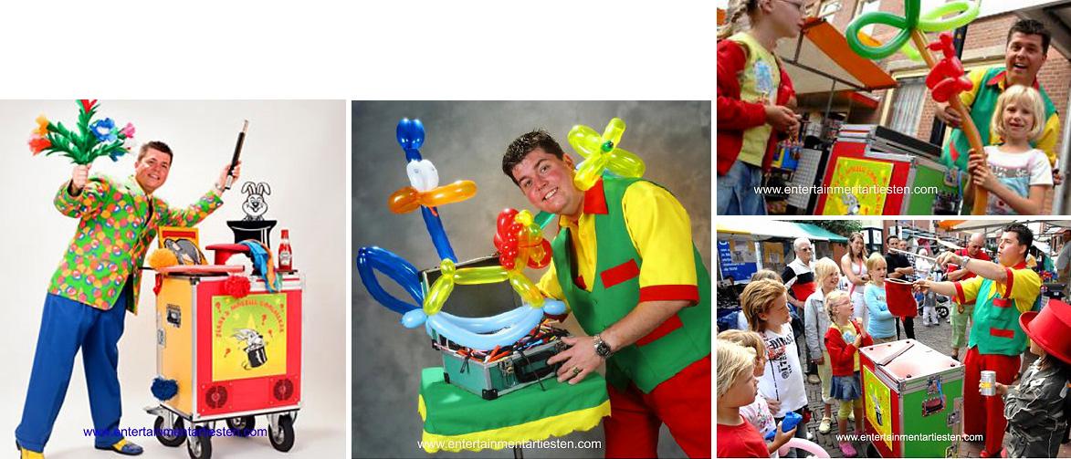 Met zijn mobiele goochel- en ballonnenkar is de acteur in staat om tijdens uw evenement alles en iedereen te vermaken met zijn goochelkunsten. Jong en oud worden meegenomen in zijn magische wereld, goochelaar, kindertheater, kindervoorstelling, goocheltruc, kinderfeestje organiseren, ballonnen vouwer, Govers Evenementen, www.goversartiesten.nl