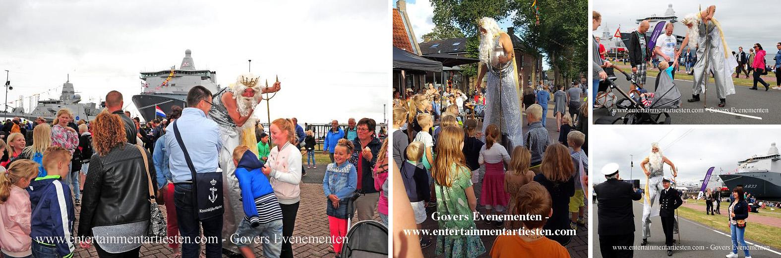 Nautisch- & Maritiem Entertainment, Neptunus op stelten - steltenloper voor themafeesten en festivals stelten act steltentheater, Govers Evenementen, www.goversartiesten.nl