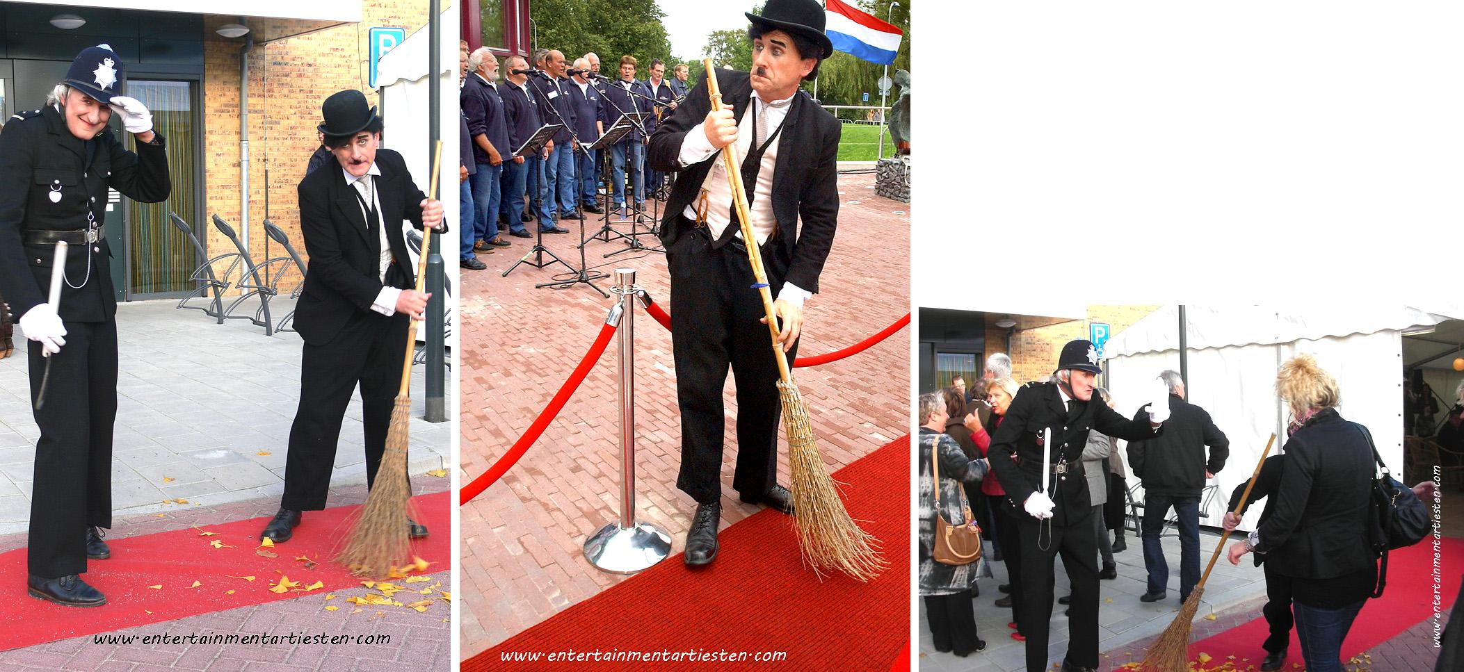 Straattheater, Charlie Chaplin Look-a-like mimespeler en Engelse Bobby ontvangen uw genodigden bij de entree, themafeest, ontvangstact, acteurs huren, thema entertainment, artiestenbureau, Govers Evenementen, www.goversartiesten.nl