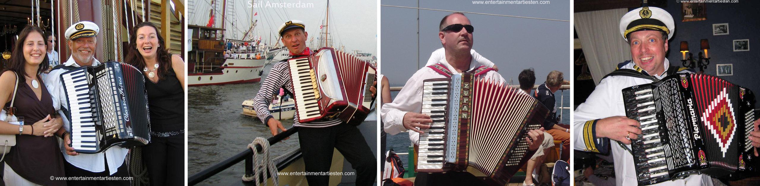 Muzikale matroos - accordeonist voor Nautisch- & muzikaal Maritiem Entertainment op schepen, nautische muzikanten, accordeonist, muziek, Govers Evenementen, www.goversartiesten.nl