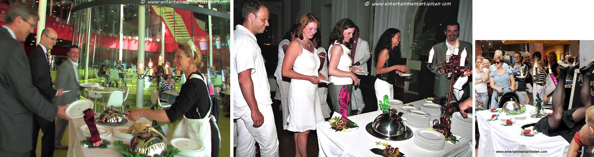 De Levende tafel is hilarisch Culinair Entertainment tevens geschikt als Cateringact, Govers Evenementen, www.goversartiesten.nl