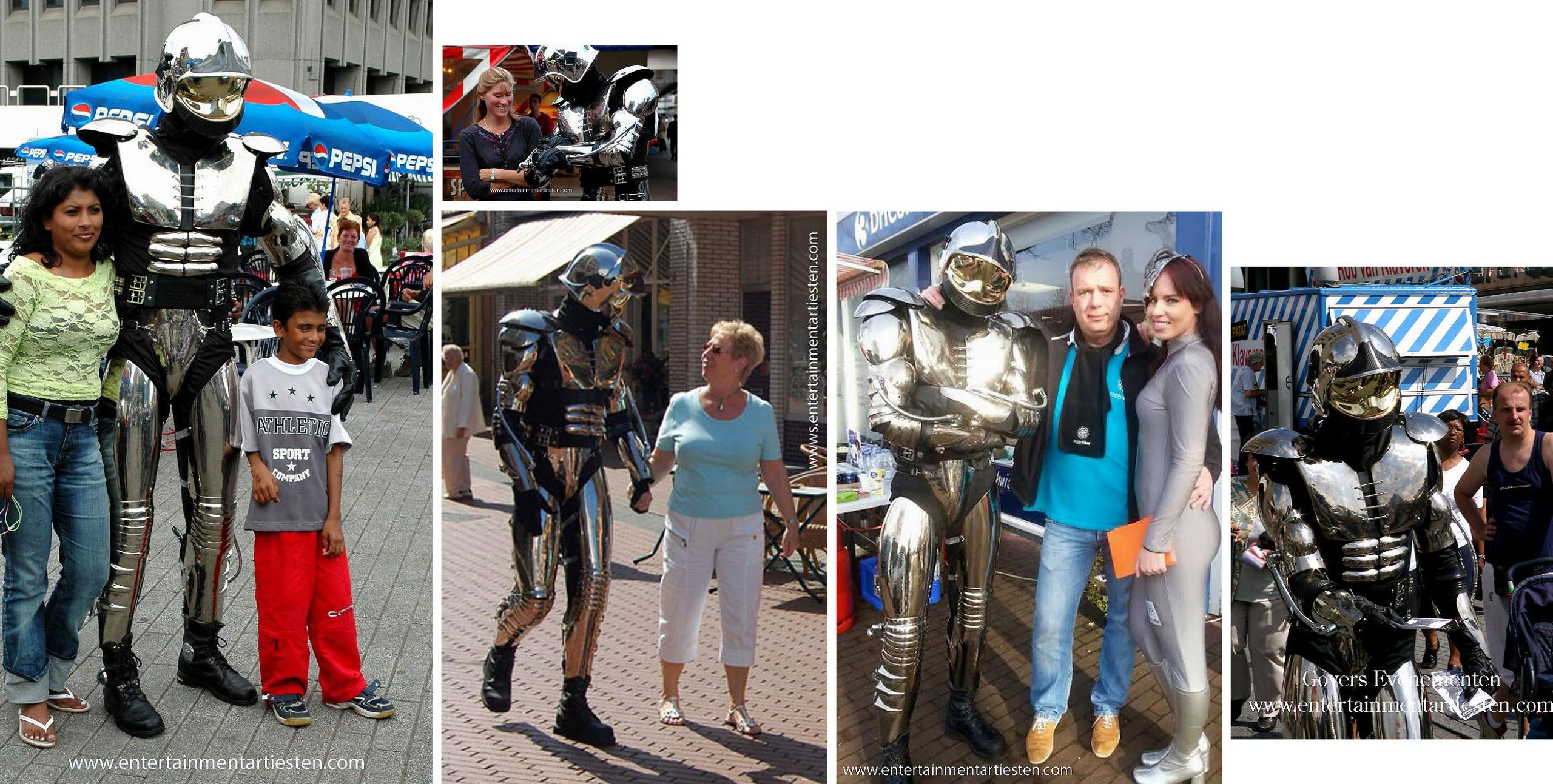 Straattheater : Met deze ROBOT, een spectaculaire futuristische straatanimatie wil iedereen mee op de foto, robot-act, mars act, planeten, space act, Govers Evenementen, www.goversartiesten.nl
