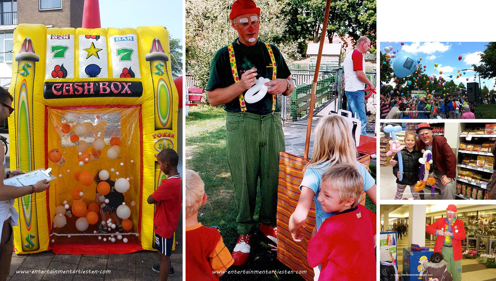 Kinderprogramma Jeugdshow, clown voor feestje, kinderfeestje organiseren, kinder straattheater, ballonnen clown, artiesten boeken, Govers Evenementen, www.goversartiesten.nl