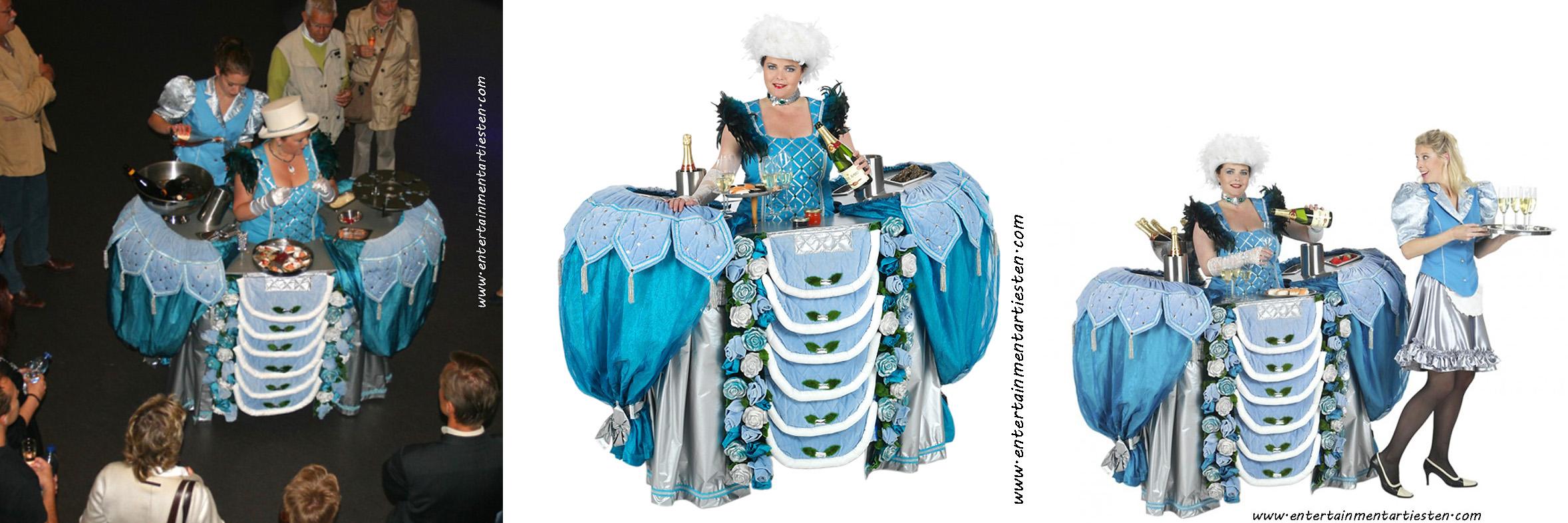 De Champagnetafel is bijzonder Entertainment voor een Huwelijksfeest met drankjes, culinair entertainment, catering act, artiesten boeken voor feestje, drankjes serveren, Govers Evenementen, www.goversartiesten.nl