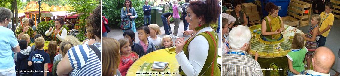 Kinderprogramma Jeugdshow, Tante Twinkel speelt eenvoud en uitdaging gaan bij dit spel hand en hand, kindertheater, kindervoorstelling, kinderfeestje organiseren, winkelcentrum promotie, Govers Evenementen, www.goversartiesten.nl