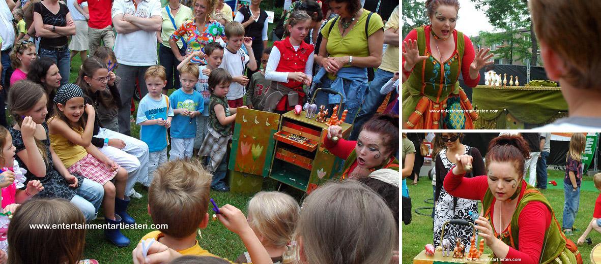 Mamma Belle trekt rond in de winkelstraten,op pleinen of is te vinden in het park, kindertheater, kindervoorstelling, artiesten huren, artiesten boeken, kinder straattheater, Govers Evenementen, www.goversartiesten.nl
