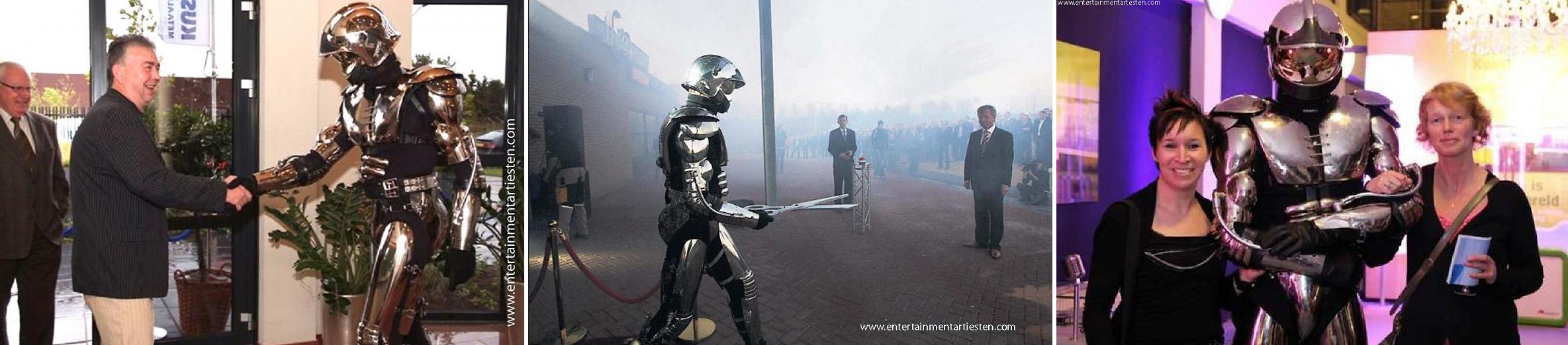 De robot-act zorgt voor een spectaculaire entree- opening-of welkoms act voor genodigden en gasten, ontvangstact, themafeest, opening, entertainment, Govers Evenementen, www.goversartiesten.nl