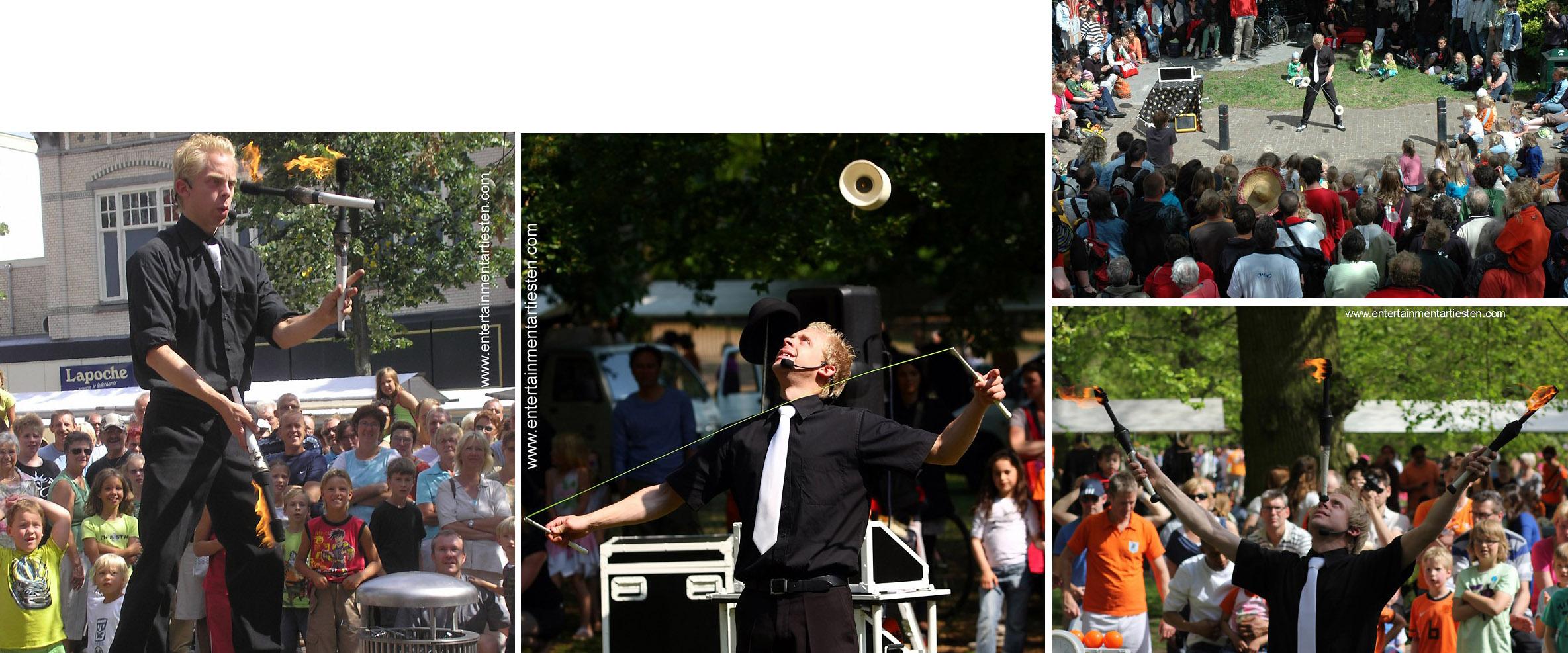 jongleur acrobatiek, deze jongleur jongleert met vuurfakkels, ballen en diabolo's, straattheater, artiesten boeken, artiestenbureau, thema feest, Govers Evenementen, www.goversartiesten.nl