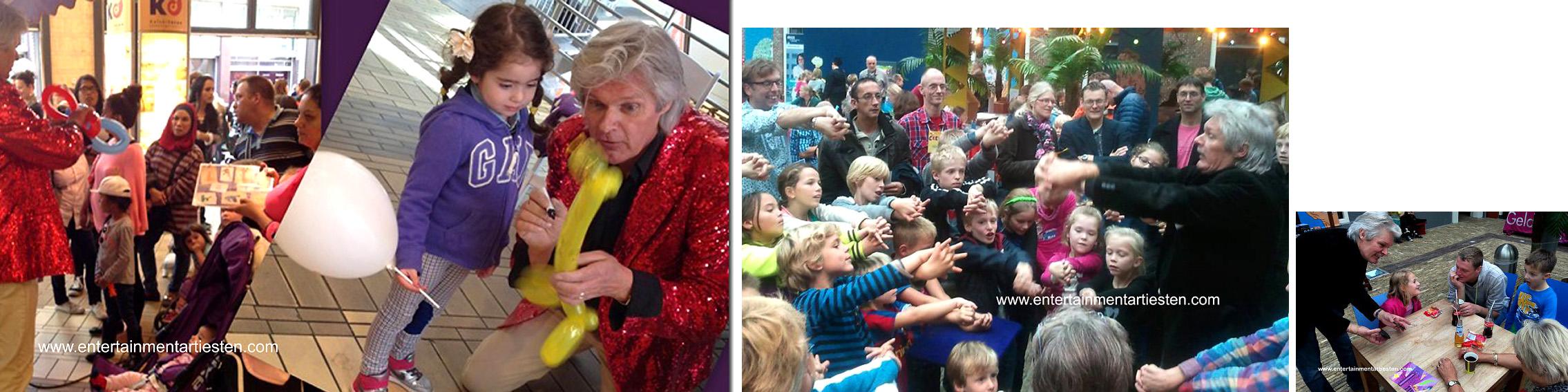 Kinderprogramma, Magisch goochelen – goochelaar voor klein en groot. Met zijn mobiele gegoochel- en ballonnen aanmaak is deze acteur in staat om tijdens uw evenement alles en iedereen te vermaken met zijn goochelkunsten, Govers Evenementen, www.goversartiesten.nl