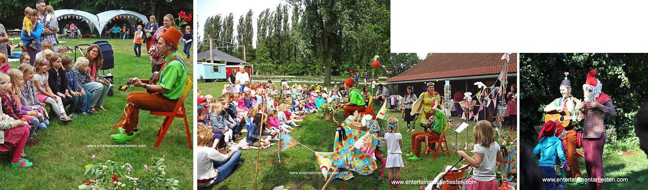 Kinderprogramma Het zomerfeest. Gespeeld met muziek en zingende verhaaltjes, kindertheater, kindervoorstelling, kinderfeestje organiseren, muzikanten, kinderliedjes, Govers Evenementen, www.goversartiesten.nl