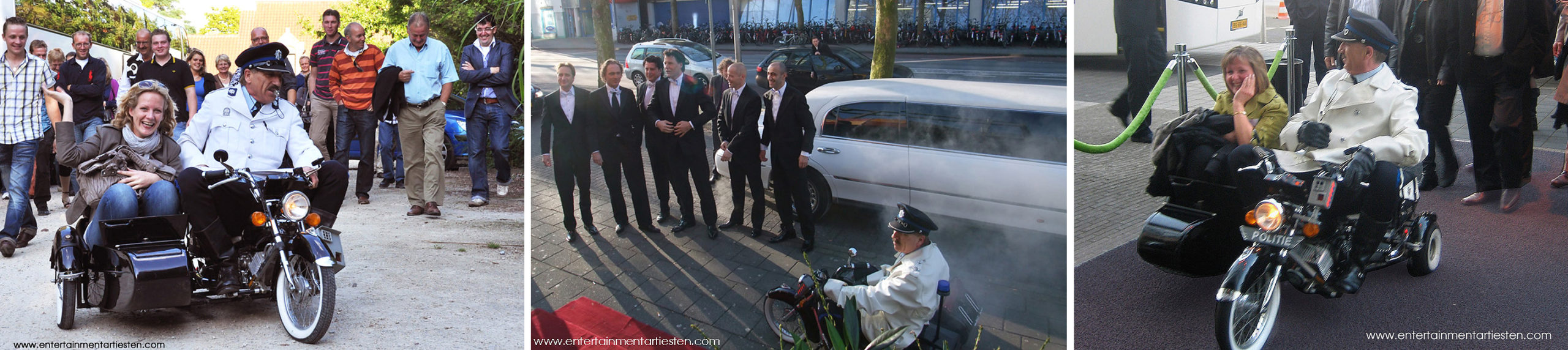 De nostalgische politiemotor is een komische Entree act om uw gasten mee te verwelkomen, thema act, straattheater, ontvangsact, entertainment, artiesten boeken, Govers Evenementen, www.goversartiesten.nl