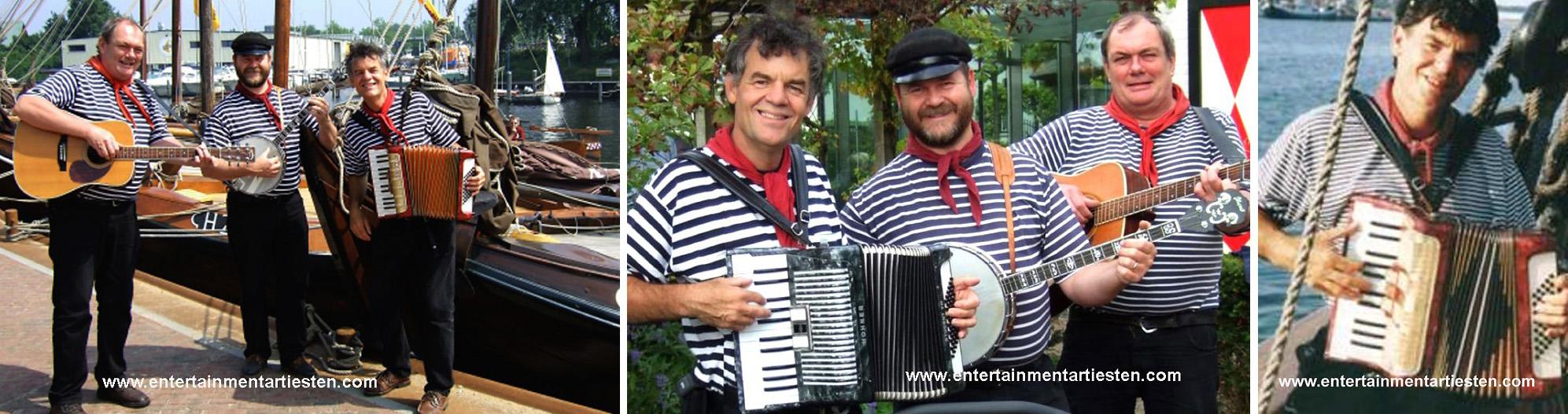 Ierse, Franse en Zeeman muziek. Meestal zitten deze liederen vol met humor, hoewel er soms ook een serieuze noot in te vinden is, www.goversartiesten.nl