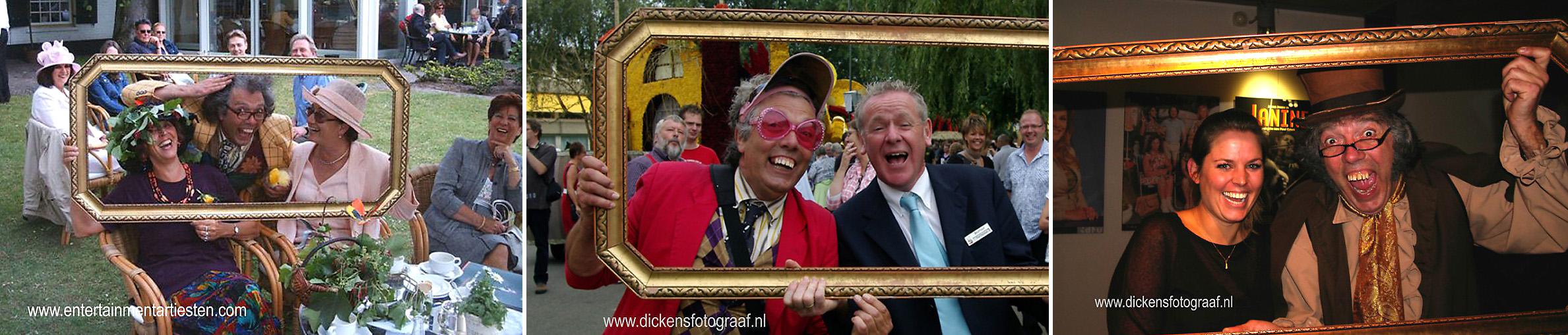 Entree Act Ontvangstanimatie, Freek Flits is een erg druk baasje. Hij heeft zich als professioneel fotograaf toegelegd op portretfotografie. Om de kosten te drukken brengt hij zijn eigen schilderijlijst mee, fotografie op feest, artiesten inhuren, acteur boeken, Govers Evenementen, www.goversartiesten.nl