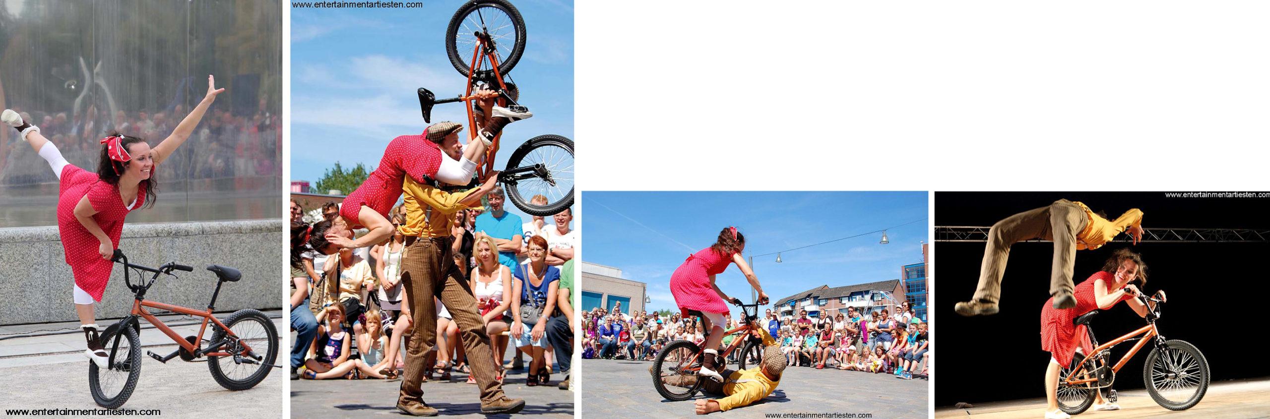 Komische slapstick acrobatiek van twee geliefden met een BMX-fiets - straattheater, artiesten boeken, jongleurs, fietstheater, Govers Evenementen, www.goversartiesten.nl