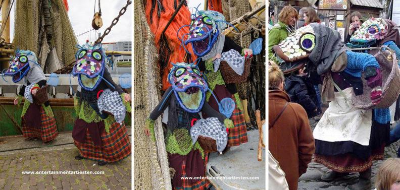 De viswijven zijn een typisch Straattheater - straatartiesten met veel humor tijdens uw evenement, nautisch entertainment, straattheater artiesten, artiesten boeken, acteurs, havendagen, www.goversartiesten.nl