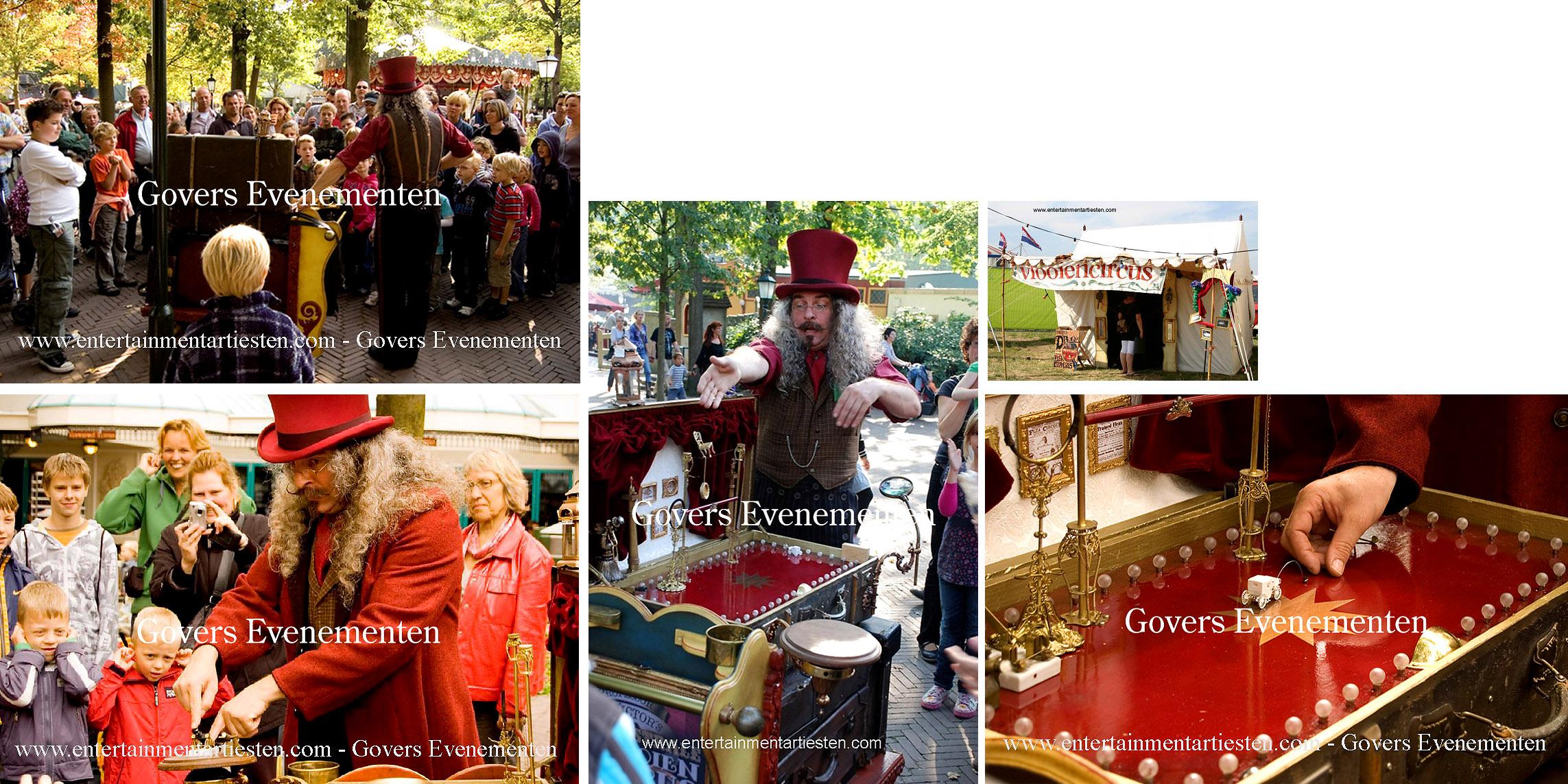 Nostalgische vlooiencircus. Stapt U terug in de tijd en neem een kijkje bij het kleinste circus ter wereld, goochelaar, straattheater, artiest, artiesten, theater voor kinderen Govers Evenementen, www.goversartiesten.nl