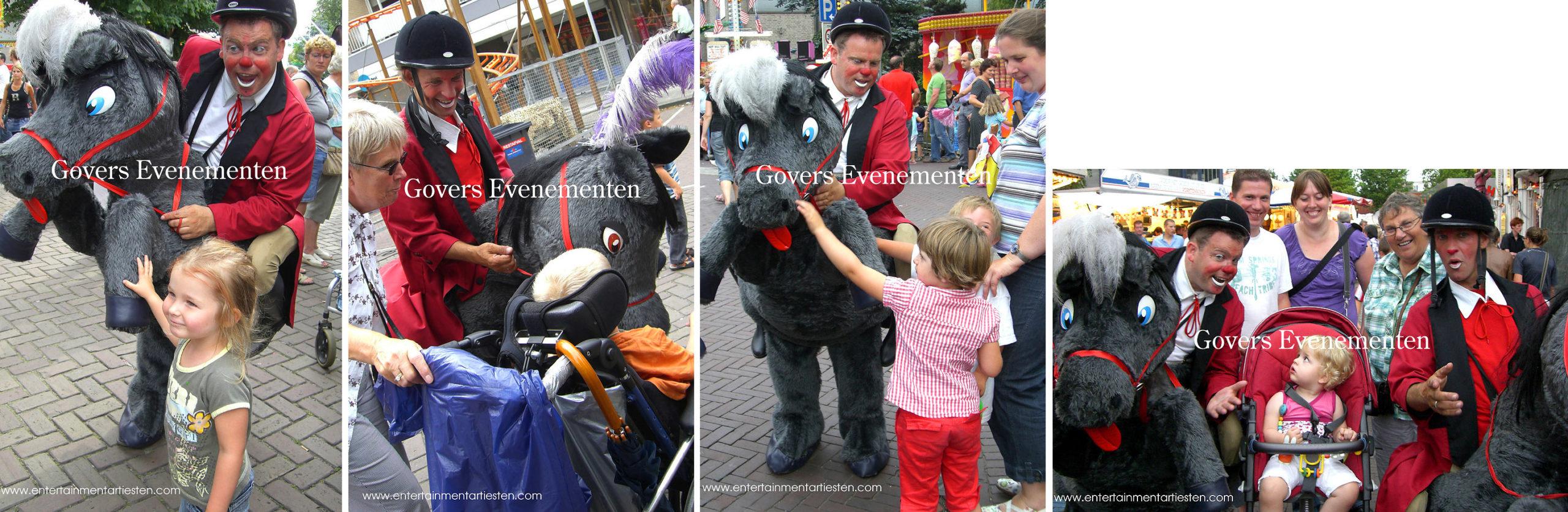 Clown, Straattheater, dit ondeugende circuspaardje zet de hele boel op stelten, theater voor kinderen, kindertheater, artiest, paard, paardjes, artiesten boeken, Govers Evenementen, www.goversartiesten.nl