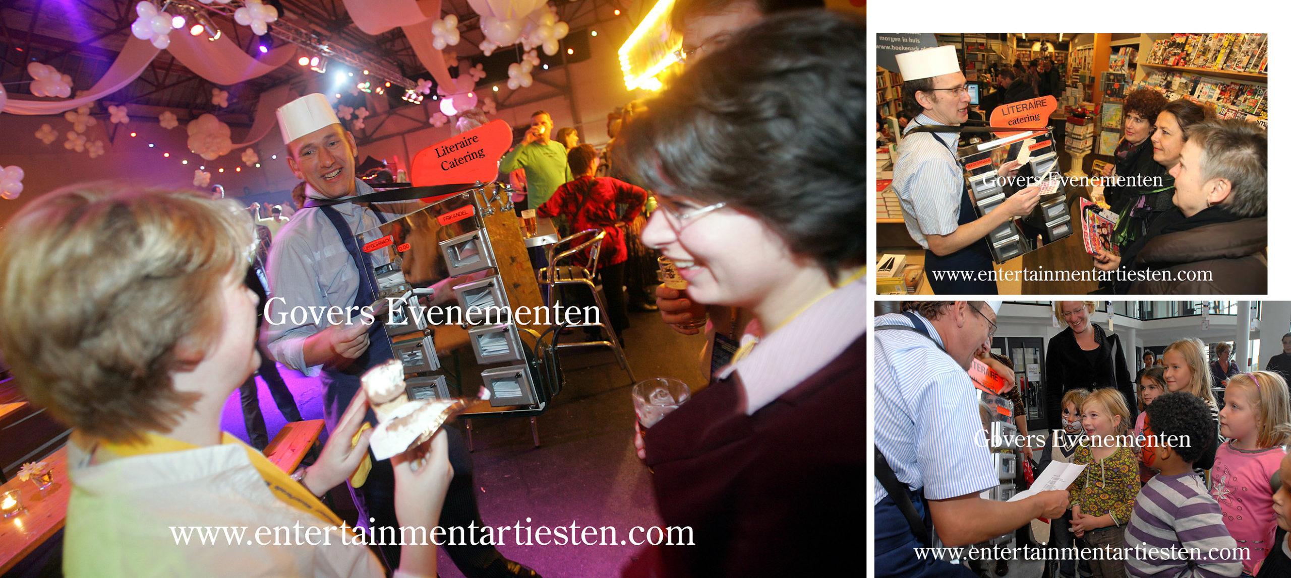 Catering literair, Een literair gedicht voorgedragen voor consument vanuit een mobiele snackbar, Categorie Straattheater - straatartiesten, themafeest, thema entertainment inhuren, Govers Evenementen, www.goversartiesten.nl