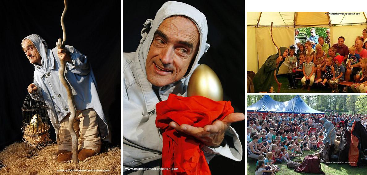 De Dwerg met gouden ei, een straattheater voorstelling met mime, clownerie en komische wendingen, straattheater, straatact,, kindervoorstelling, Govers Evenementen, www.goversartiesten.nl