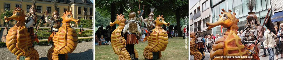 Straattheater - straatartiesten, In defilé dobberen deze kornuiten als gladiatoren te zeepaard met oerkreten de straten in !, www.goversartiesten.nl
