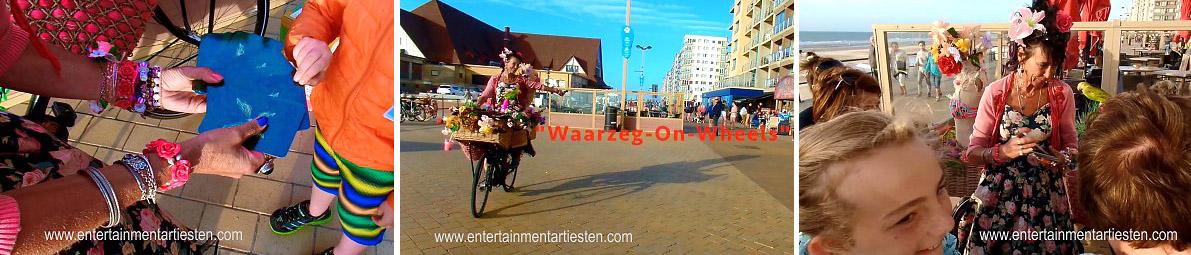 mobiel Straattheater - straatartiesten - Waarzegster, rondtrekkend met haar fiets door Europa luistert en adviseert Madame Rozalien met haar Tarotkaarten en voorspelling maakt zij kleine kinderen en volwassenen nieuwsgierig, Govers Evenementen, www.goversartiesten.nl
