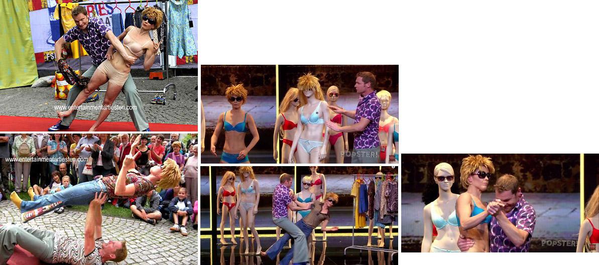 acrobatiek, De speelpop is bijzonder geschikt voor een winkelcentra: het verhaal speelt zich af in de etalage van een (retro-)kledingwinkel, kan daardoor ook heel goed vóór een kledingwinkel gespeeld worden, straattheater, artiesten boeken, Govers Evenementen, www.goversartiesten.nl
