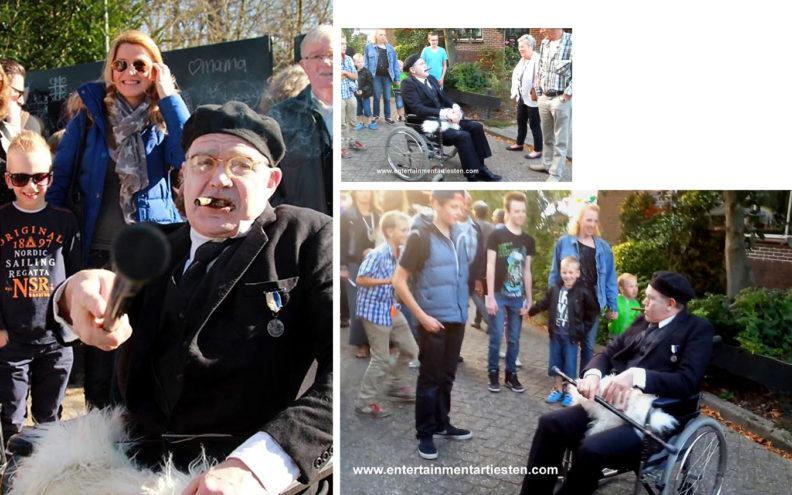 Straattheater, straatartiesten, straatact, Cabaret - Comedy - Komiek, Ing. Max van Splundert is geruchtmakende animatie. Gezeten in een rolstoel maakt hij de omgeving tot zijn bezit.