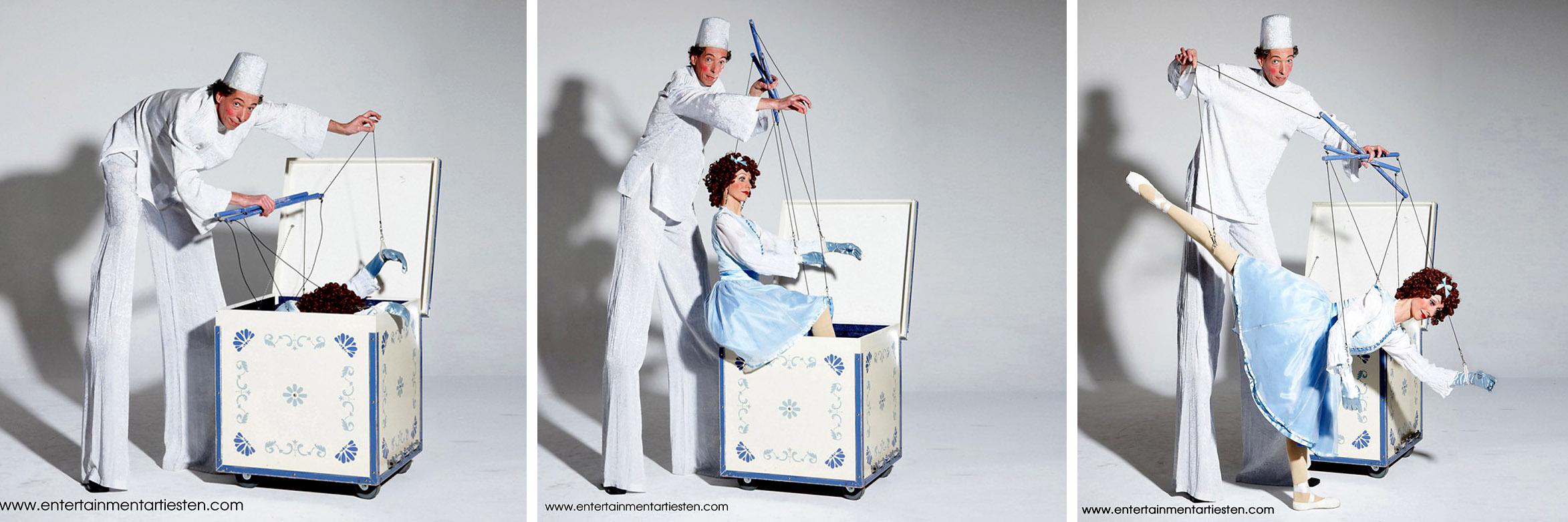 Steltentheater met marionettepop: Door middel van haar fraaie bewegingen bespeelt ze het publiek. Steltenloper, steltenact, steltentheater, straattheater op stelten, Govers Evenementen, www.goversartiesten.nl