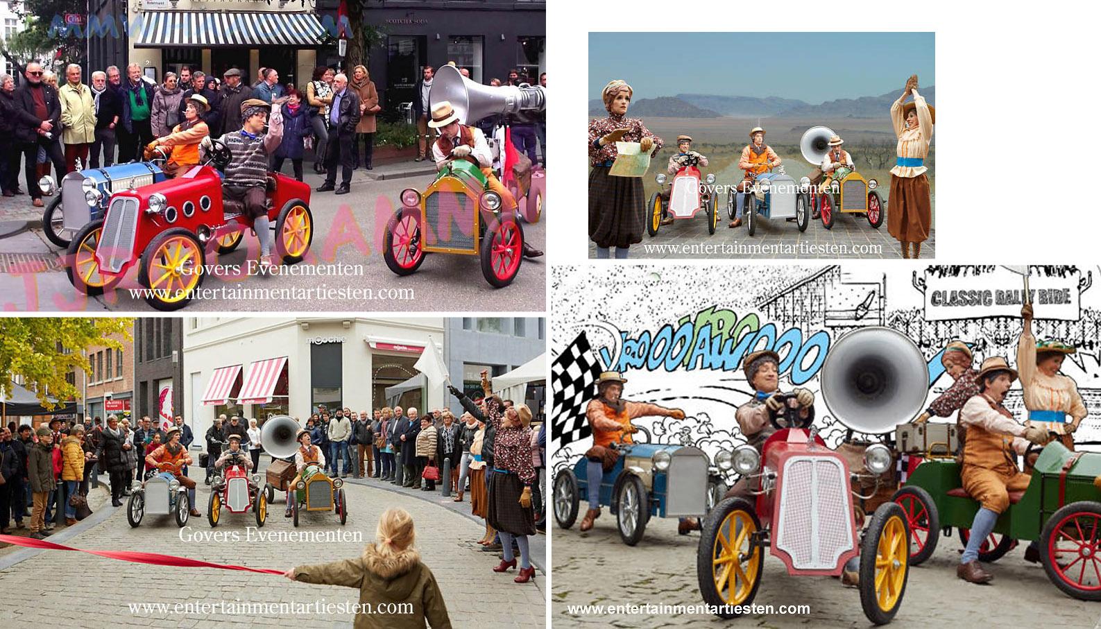 Straattheater, De Motoren Ronken In de verte klinkt de omroeper met zijn wervelende commentaar, de motoren ronken, het startschot knalt, straattheater, straatact, festival theater, Govers Evenementen, www.goversartiesten.nl