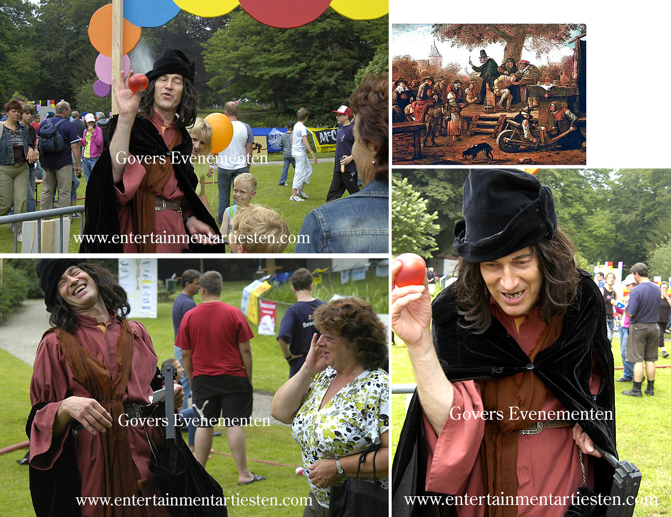 Straattheater, animatie, acteur, oudhollands, hollands, middeleeuws straattheater, de Kwakzalver, kwakzalverij, humor, voor winkelcentrum en festival, Govers Evenementen, www.goversartiesten.nl